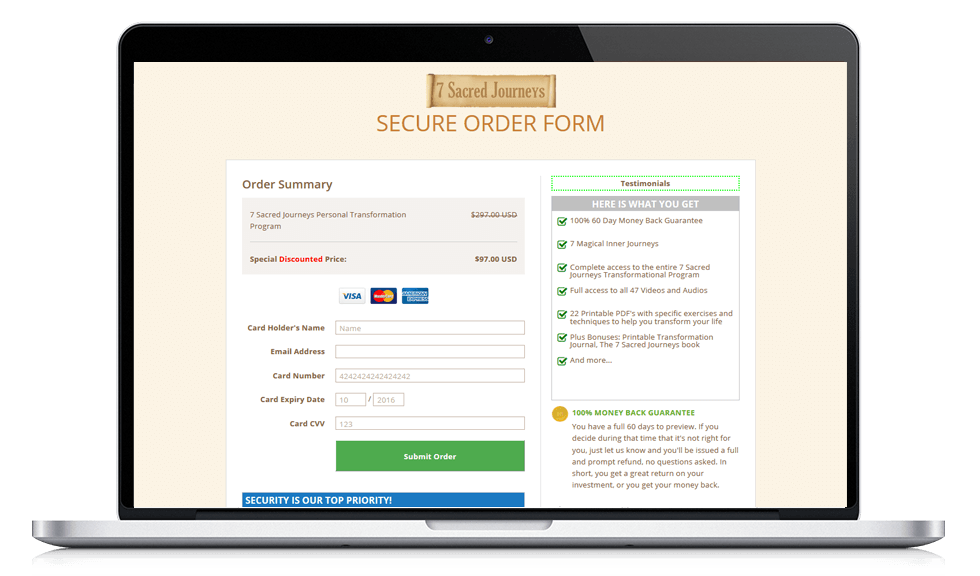 Secure checkout page